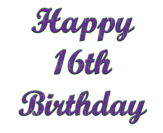 Purple Happy 16th Birthday - Edible Cake and Cupcake Topper For Birthday's and Parties! - D22728