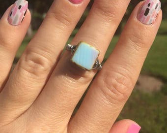 Ring Size 6 - Baby Blue Lavender Picasso ring with antiqued silver tone wire