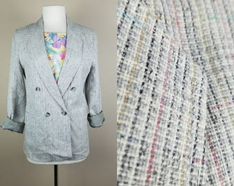 1980s tweed blazer - gray vintage blazer - 80s double breasted blazer - womens gray jacket - vintage tweed coat