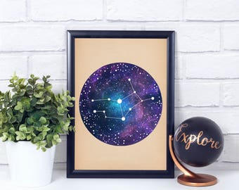 Virgo Constellation, Wall Art Prints, Art Print Poster, Virgo Art, Virgo Zodiac, Zodiac Print, Zodiac Art