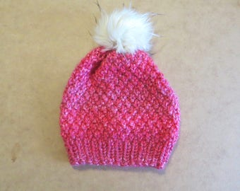 The Aurora Hat in Hot Pink w/ White & Beige Tipped Faux Fur Pom || Ready to Ship