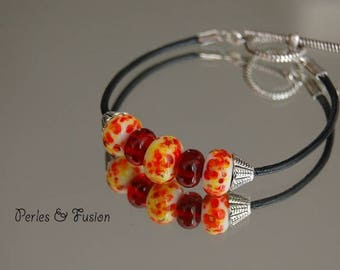 Handmade Lampwork Glass bracelet * art * tones fire - handmade - murano glass - leather