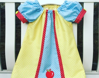 SNOW WHITE Disney peasant dress in cotton fabric with apple puffed cuff sleeves age 12 mths to 5/6