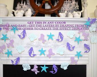 Mermaid garland, Starfish and Seashell garland, Under the sea party decorations,  mermaid party supplies, garland, mermaid party decor
