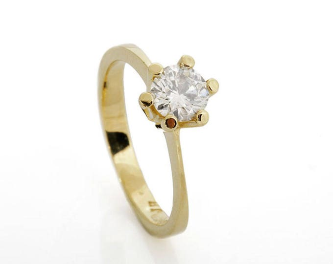 Solitaire diamond ring-Diamond Engagement Ring 0.85 ct-Solitaire ring-14K Yellow Gold -Women Jewelry-Promise ring-Bridal Jewelry-Anniversary