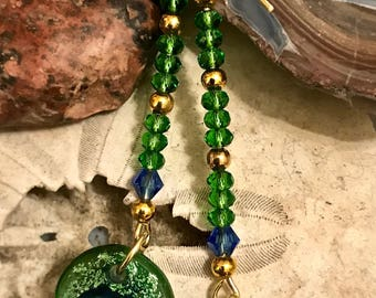 Earrings made of Cobalt Blue and Green Dichroic Glass Drops