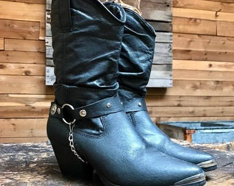 Vintage Dingo Harness Western Boots Vtg Black Leather Slouchy Cowgirl Boots with Concho Star Straps Women's Size 7
