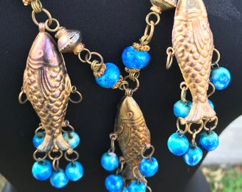 Fish Necklace with Brass Beads on Long Chain/3D Fish and Blue Ceramic Beads/Statement Necklace/Boho/Artisan Made/Sound and Motion/27 inches