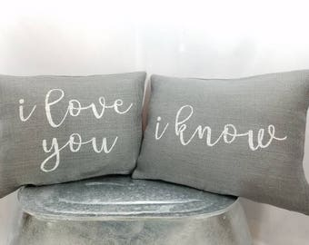 """Custom rustic """"I love you"""" and/or """"I know"""" gray burlap white (or custom color)  pillow cover. Custom size/color option"""