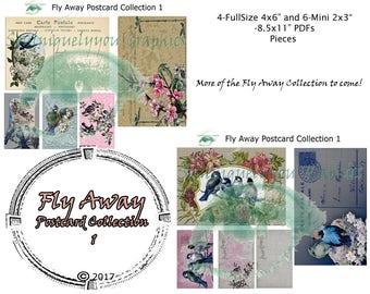 Fly Away Collection Digital Journal Ephemera DIGITAL DOWNLOAD ONLY!!!, Journal Kit, Glue Book, Flow Journal, Smash Book, Journal
