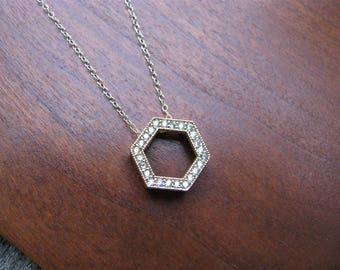 Gold-plated Cubic Zirconia Pave Hexagon Pendant, Gold-filled Necklace, Bridesmaid Jewelry