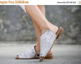 SALE White Sandals, Leather Sandals, Handmade Sandals, Summer Shoes, White Summer Flats, Slide Sandals, Mules, Charlotte