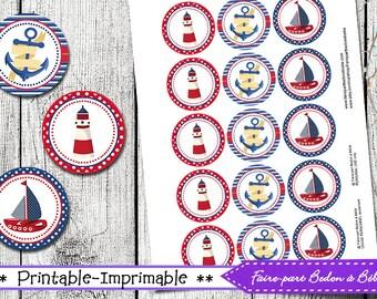 Nautical Cupcake Topper - Cupcake topper printable - Cupcake topper - Nautical - Cupcake printable - digital printable