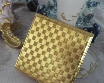 Vintage Compact, Kigu of London, Gold Basketweave, Unused