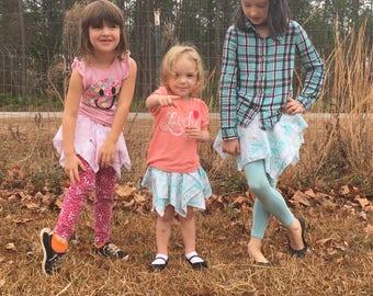 Handkerchief skirt, skirt for leggings, hanky skirt, whimsical skirt, sibling skirt, enchanting skirt, playground skirt, tulip skirt, pixie
