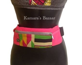 African Jogger Fannypack Pink Aztecy