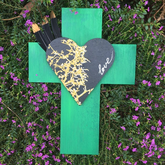 Crucifix 'Frida Loveheart ' with feathers Wall Art, White black Boho Design,  Timber