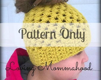 Messy Bun Pattern - Bun Hat - Pineapple Ponytail Hat - Crochet Ponytail Hat Pattern - Crochet Pattern - Messy Bun Hat