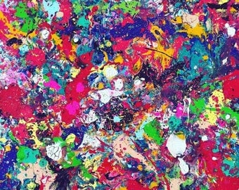 SALE Oversized Splatter Abstract Painting XL Abstract Art Expressionism Original Acrylic Art Colorful Painting Action Pop Art 24x30 canvas