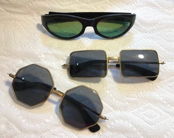 3 fabulous pairs of vintage sunglasses rectangle green octagonal frames