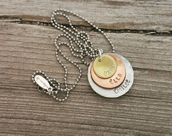 Hand Stamped 3 Disc Stacked/Layered Domed and Textured Necklace  - Custom - Mixed Metals - Copper Brass and Aluminum, no color in letters