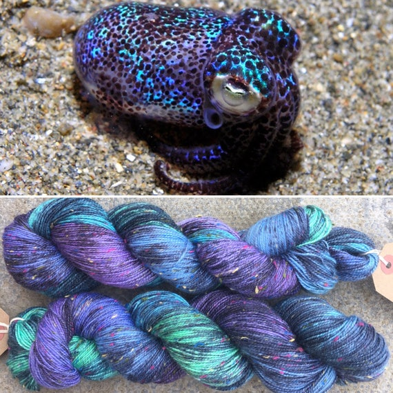 Firefly Squid Donegal Sock, speckled cephalopod theme indie dyed merino nylon sock yarn with rainbow neps