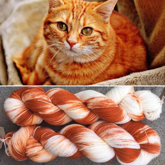 Ginger Tabby Autumn Edition, cat inspired 4ply fingering superwash merino nylon blend indie sock yarn