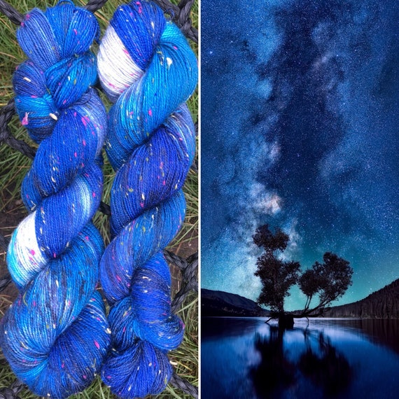 Night Sky Multicolour Donegal Sock, textured soft merino yarn with rainbow neps