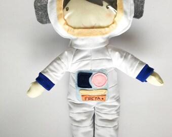 Female astronaut cloth doll - softie toy - rag doll - nursery decor