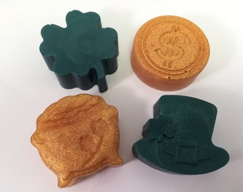 Leprechaun Soap / Shamrock Soap / Clover Soap / Lucky Clover Soap / Shamrock Shuffle Soap / St Patty's Soap / Set of 4 Soaps