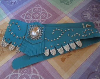 "Turquoise Belt - Jeweled Belt - Fashion Belt - Fringe - Studs - Jewels - 39"" Long - 5"" Tall at Center"