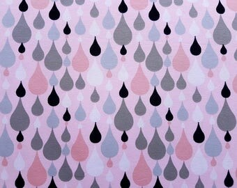 Raindrop Fabric - Cotton Jersey Knit, Organic Knit Fabric, Rain Fabric, Cotton Lycra Jersey, Stretch fabric, Fabric by 1/2 yard