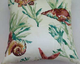 "Sea Shells , Coral Print  Pillow Cover 18""x 18"""