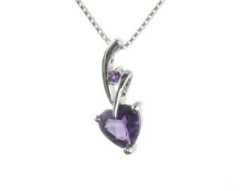 Purple Amethyst Pendant, Sterling Silver Amethyst Pendant,  Amethyst Heart Pendant, 925 Sterling Silver Pendant, February Birthstone
