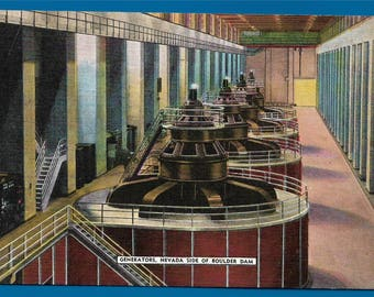 Vintage Linen Postcard - Generators in the Power House at Hoover Dam on the Nevada Side (2748)
