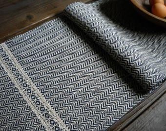 "Handwoven Herringbone Table Runner - Navy Blue, Natural Beige Cotton Linen Woven Runner with German Bird's Eye - Artisanal Weaving 13""x73"""