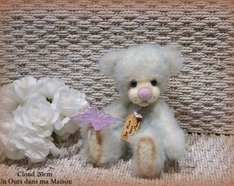 VENDUE *** !! Cloud ours d'artiste de collection 20cm ours décoration mohair laine feutrée OOAK peluche unique