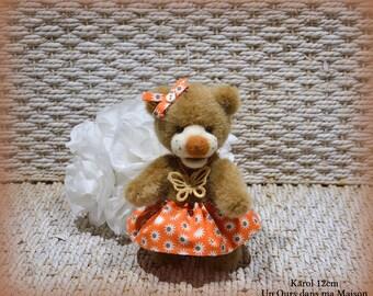 VENDUE *** Karol ours d'artiste de collection 12cm ours décoration fausse fourrure laine feutrée OOAK peluche unique