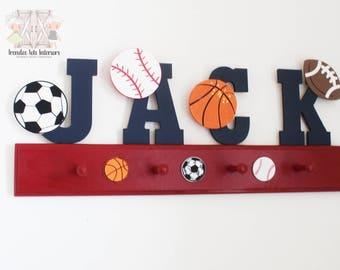 Sports room letters, Boys room decor, Sports decor, Medals organizer, Boys name racks,Sports name racks, Sports theme letters, Name racks