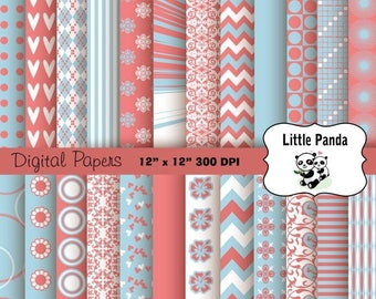 80% OFF SALE Light Blue and Coral Digital Scrapbooking Papers 24 jpg files 12 x 12 - Instant Download - D159