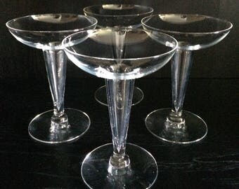 Set of 4 Matching Mid-Century Hollow Stem Champagne Coupe Glasses