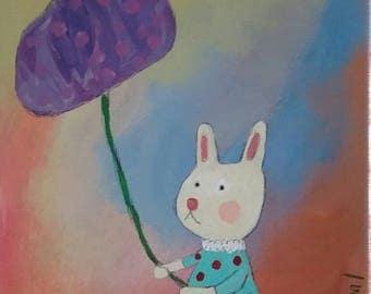 Bunny walking a purple bloom