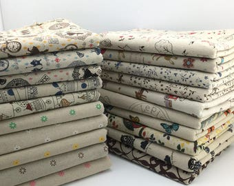 145 cm / 57 inch Width, Zakka Style Flower Floral Pattern Cotton Fabric, Half Yard