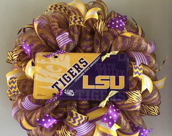LSU Tigers Mesh Wreath Football Door Welcome Sports College Collegiate Geaux Louisiana