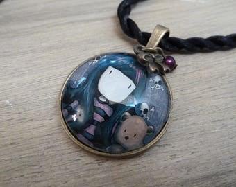 "Purple girl ""grungi"" Locket necklace"