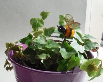 hand-made lampwork glass bee, garden ornament, fairy garden, hair stake, cake topper,