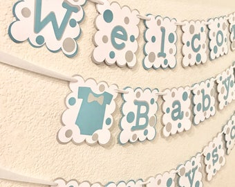 Banner - Happy Birthday Banner - Party Banner - Baby Shower Banner - Teal Gray White Polka Dot Theme