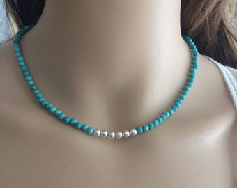 Turquoise choker necklace, Sterling Silver blue Turquoise beaded gemstone necklace real tiny Turquoise bead necklace Birthstone jewelry gift