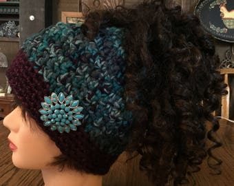 Ponytail Hat, Pony Tail Hat, Teal green purple ponytail hat, turquoise brooch, Teen ponytail hat
