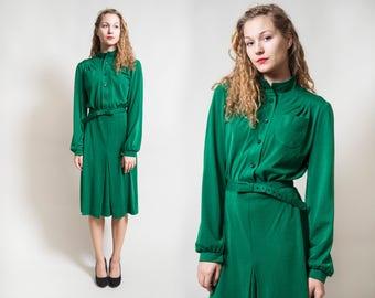 Emerald Green Midi Dress/ Longsleeve Button Up Dress with Belt/ Formal Dress/ Secretary Dress • Size Small to Medium •